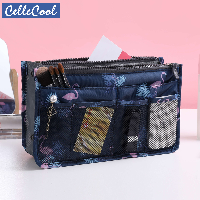 New Travel Make Up Bag Organizer Handbag Organizer Insert Bag Women Nylon  Purse Large Liner Lady Cosmetic Bag Cheap Female Tote