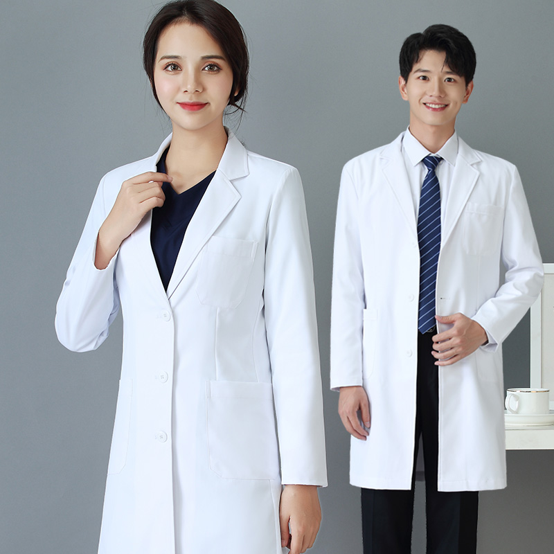 Korean version of long and short sleeve white coat medical aesthetic plastic surgeons take oral hospital laboratory uniforms image