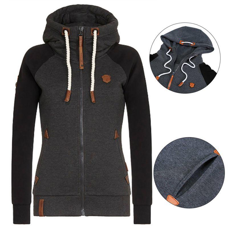 Осеннее женское однотонное пальто с капюшоном ветровка Женская ветрозащитная верхняя одежда на молнии Базовая куртка пальто Топы размера ...