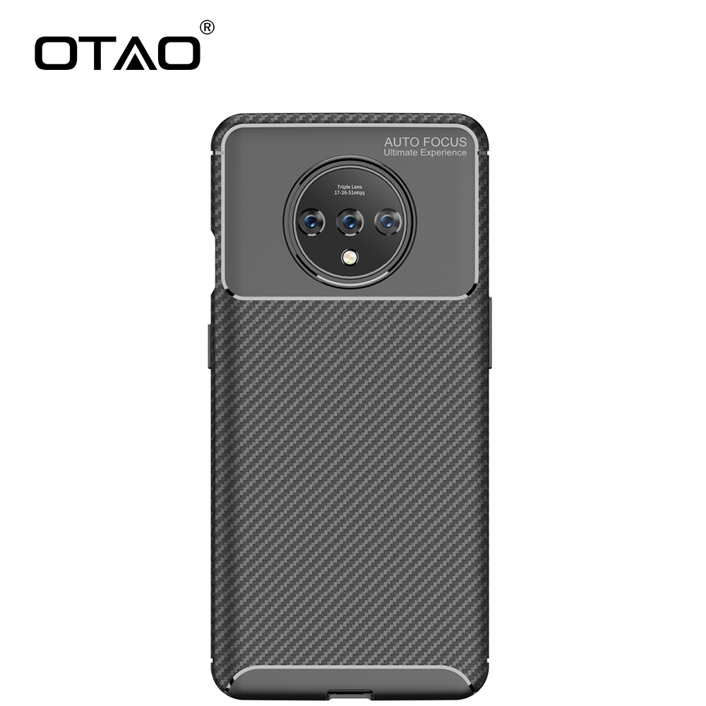 OTAO Soft Silicone <font><b>Case</b></font> For <font><b>OnePlus</b></font> 7 7T Pro 6 <font><b>6T</b></font> Plain Carbon Fiber <font><b>Case</b></font> For One Plus 7T Pro Shockproof TPU <font><b>Bumper</b></font> Cover Coque image