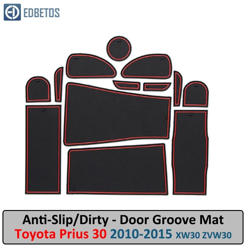 For Toyota Prius 30 XW30 2010 - 2015 ZVW30 Anti-Dirty Pad Door Groove Gate Slot Coaster Anti-Slip Mat  Car