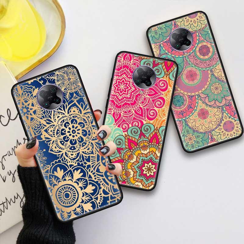 Black Tpu Capa For Xiaomi Mi Note 10 9T Pro 5G Poco F2 X2 F1 CC9 9 SE A3 A2 Lite Fundas Soft Cases Floral Mandala