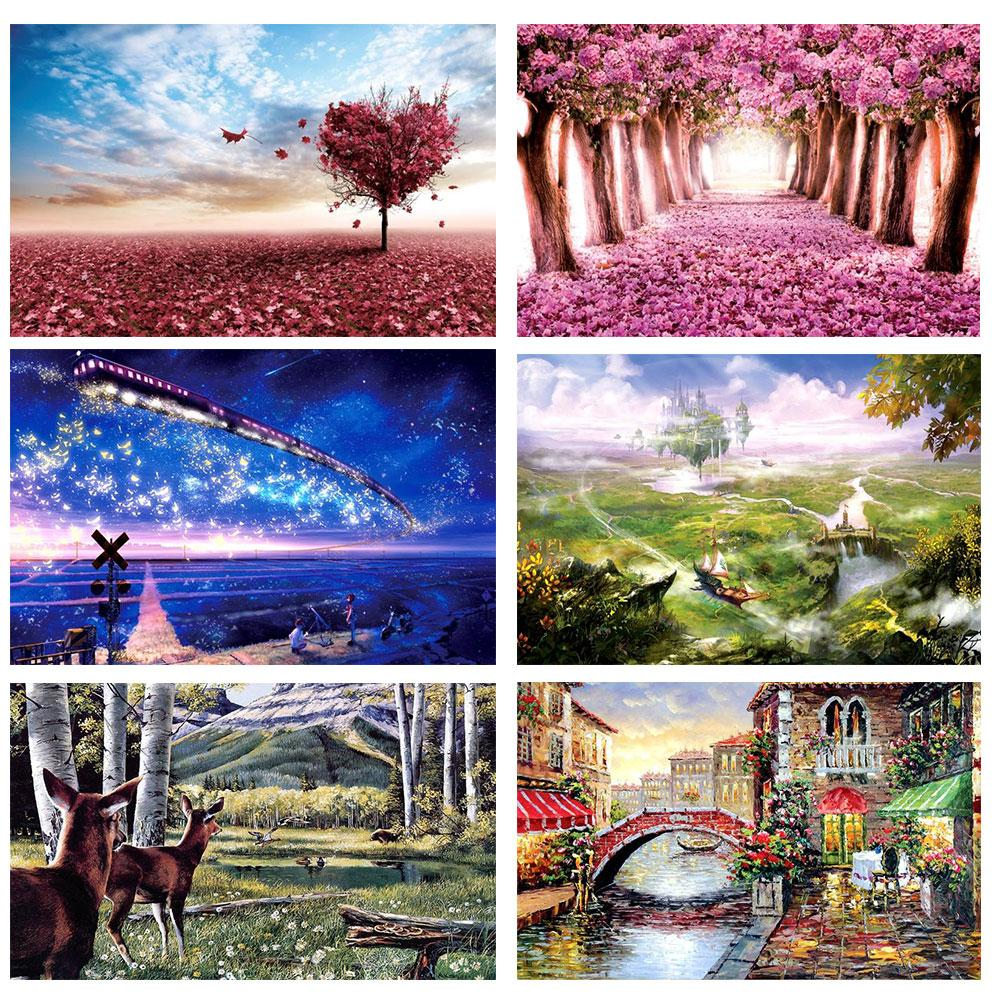1000 Pieces Puzzles For Adults Kids Thickened Paper Jigsaw Puzzle Educational Toys Landscape DIY Puzzles Toy For Kids Adults