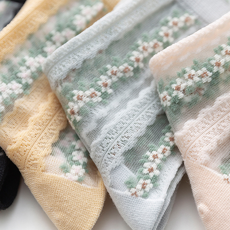 1pair Women's Spring Summer Glass Short Socks Fashion Transparent Ankle Korea Style Low Boat Socks