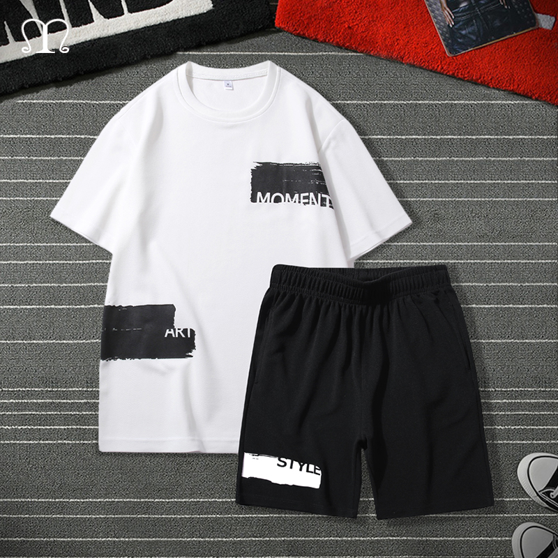 Hip Hop Tracksuit Men 2020 Summer Male Sportswear Set Brand Fashion Print Shorts + T Shirt Mens Suit 2 Pieces Sets Plus Size 4XL