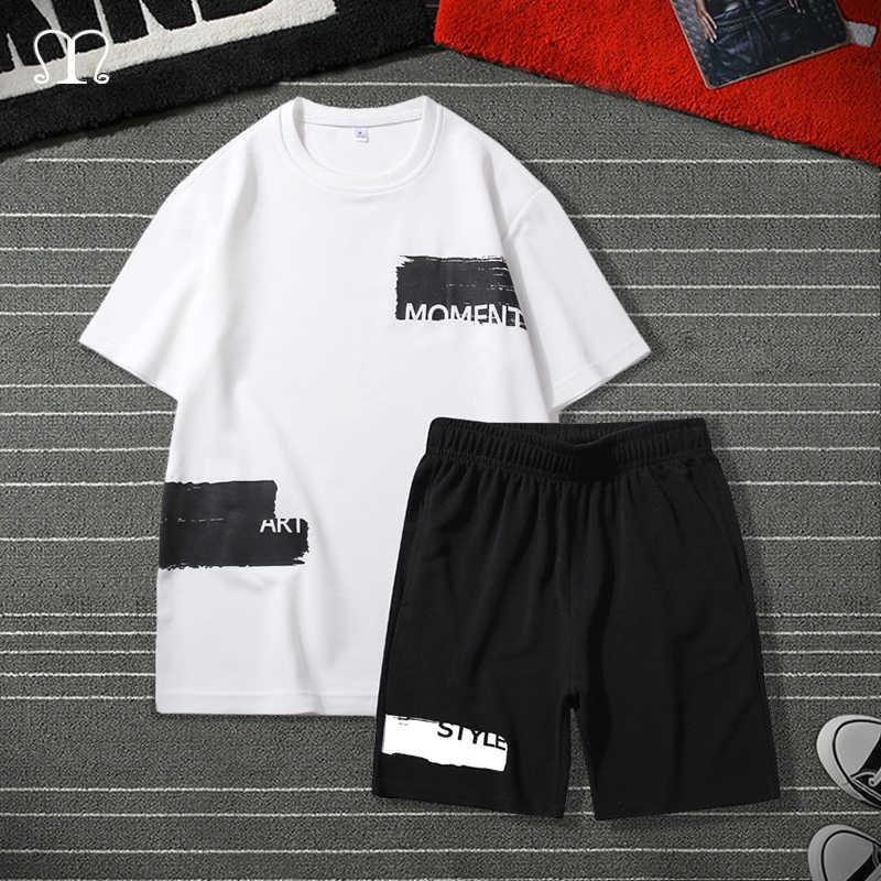 Hip hop treino dos homens 2020 verão masculino conjunto de roupas esportivas marca moda impressão shorts + t camisa dos homens terno 2 peças conjuntos mais tamanho 4xl