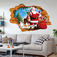 2019 Christmas 3D Wall Stickers Household Room Home Window Wall Sticker Mural Decor Decal Removable Vinyl Wall Decals Xmas Decor(China)