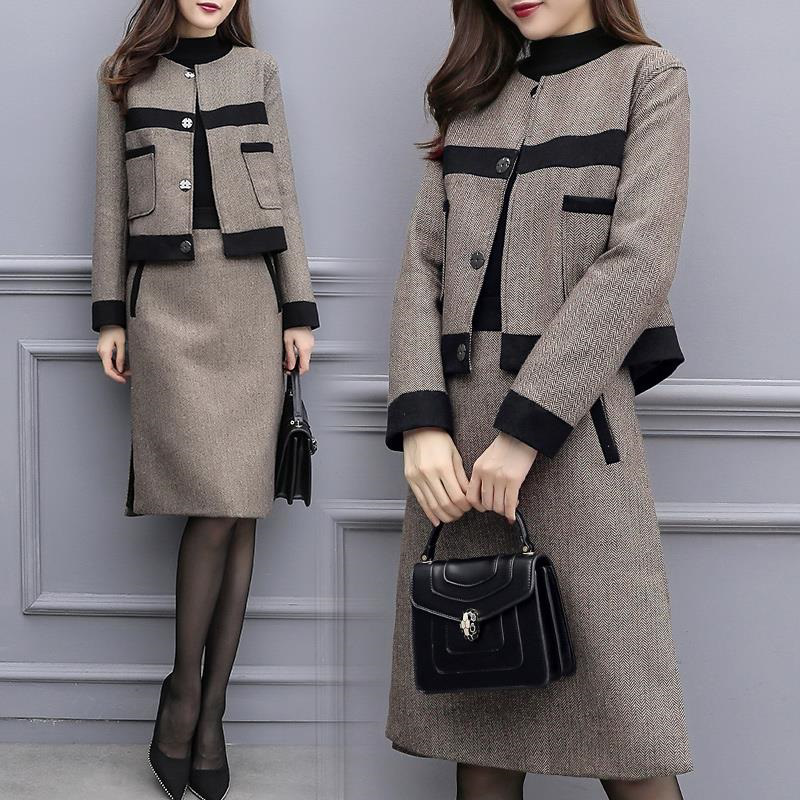Hd37403b3bbf0448ea2bcaaa146bc5aa3W - Autumn Women Tracksuits Outfits Femenino Jacket Coat + Skirt 2 Two Piece Set Female Vintage Woolen Suits Sets Clothes AQ631