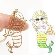 Удовольствие Подгонянное ожерелье детского рисунка Русалка кулон день подарок ребенок ребенок художественное произведение безопасности логотип ювелирные изделия матери