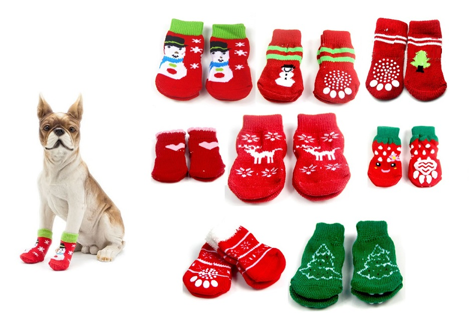 Dog Christmas Socks Small Pet Dog Puppy Doggy Shoes Lovely Soft Warm Knitted Socks Clothes Apparels For Dogs Cats 300852#