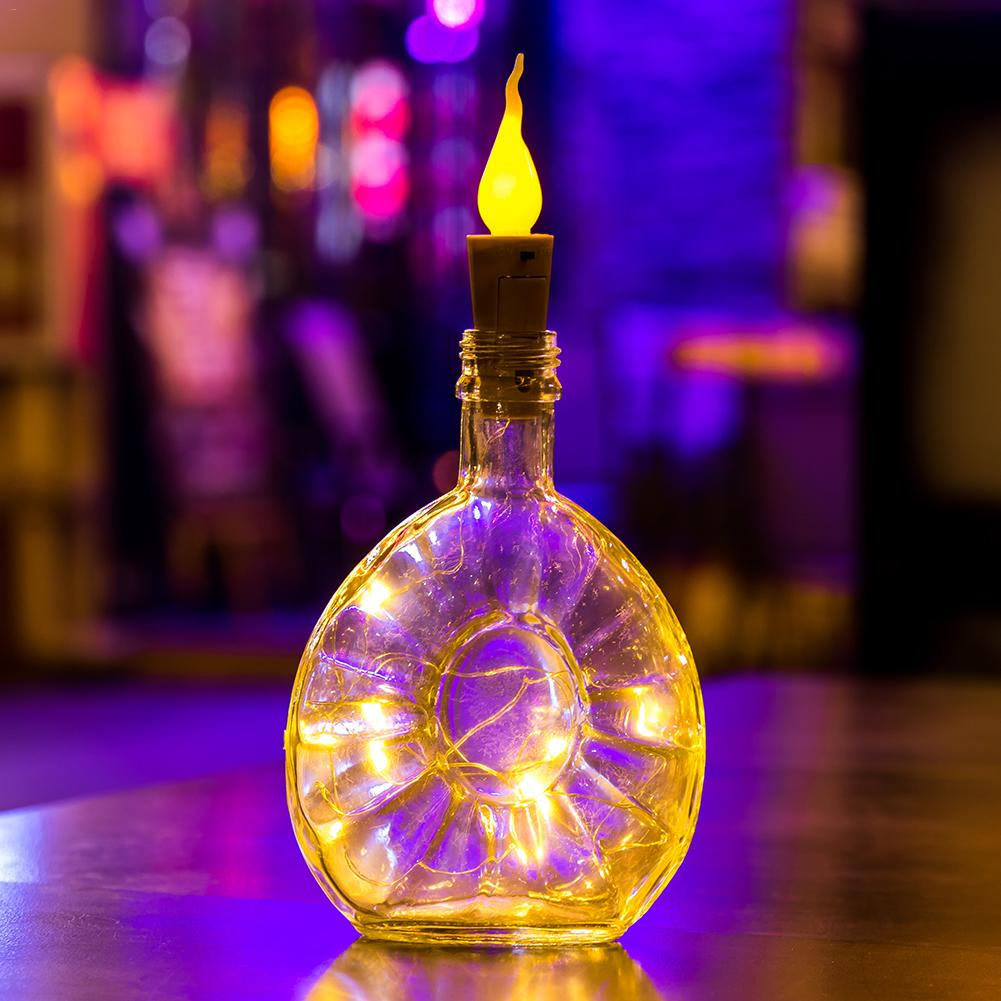 1PC 2M 20LED Holiday Light String Candle Flameless Wine Bottle Cork Fairy String Lights DIY Mini Flame Cork Light For Home Decor