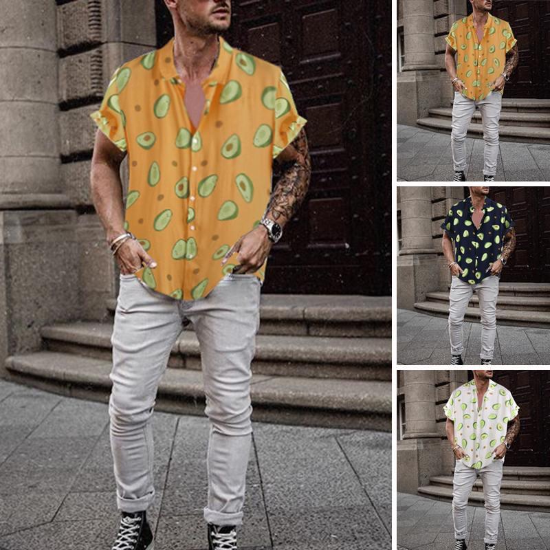 INCERUN New Fashion Summer Hawaiian Men Shirt Avocado Print Lapel 2019 Streetwear Casual Holiday Personality Camisa Masculina7