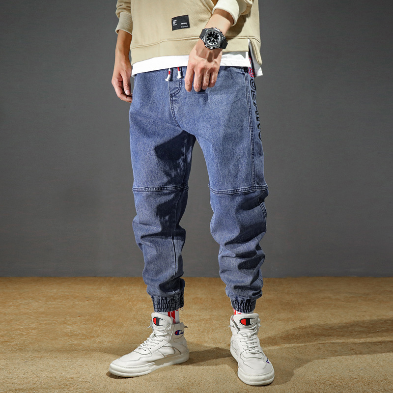 2019 Autumn And Winter New Style Japanese-style Loose-Fit MEN'S Jeans Fashion Fashion-Large Size Solid Color Beam Leg Trousers M