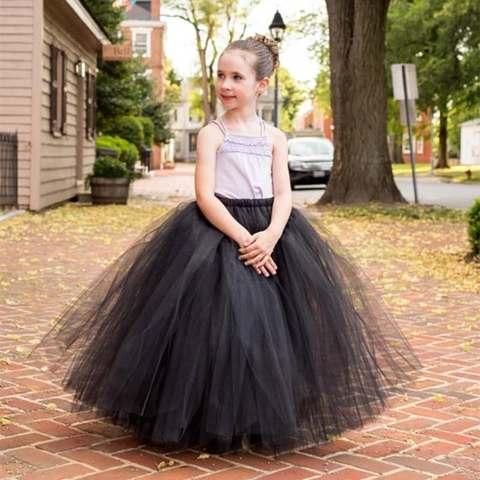 meninas preto fofo longo tutu saias infantil