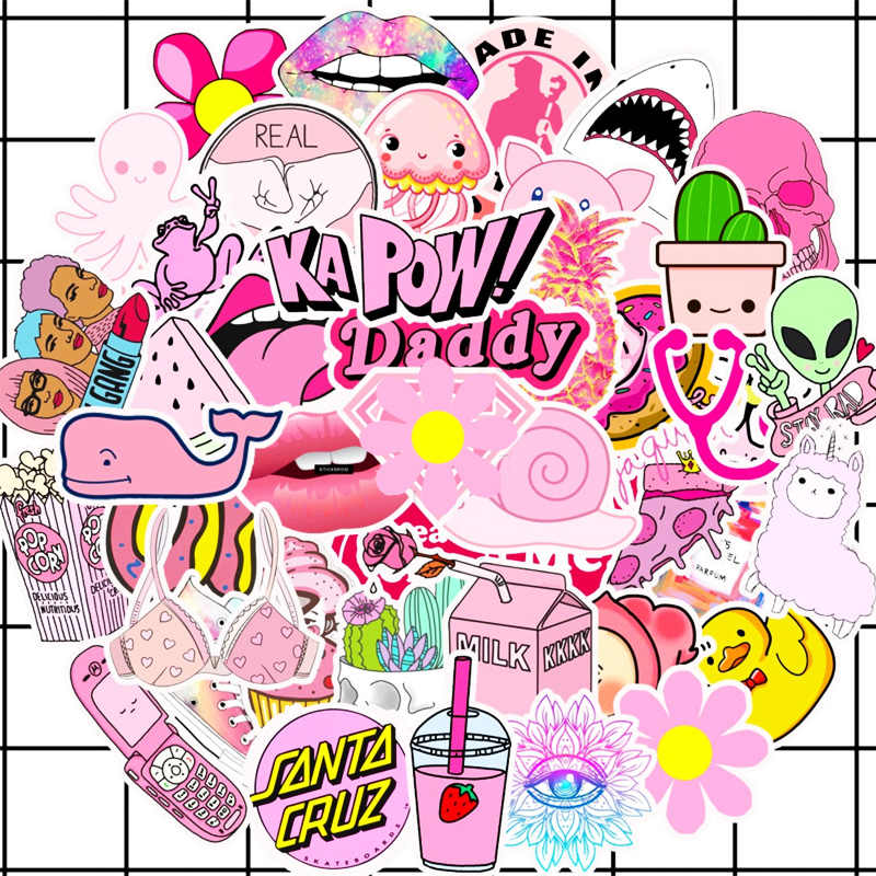 50 sztuk pcv wodoodporne dziewczyny Kawaii różowy zabawne naklejki zabawki bagaż naklejki dla silnika samochód i walizka moda naklejki na laptopa naklejki