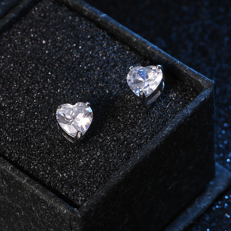UMCHO 100% 925 Sterling Silver Heart Stud Earrings For Women Gemstone Birthstone Fashion Korea Earrings Fine Jewelry