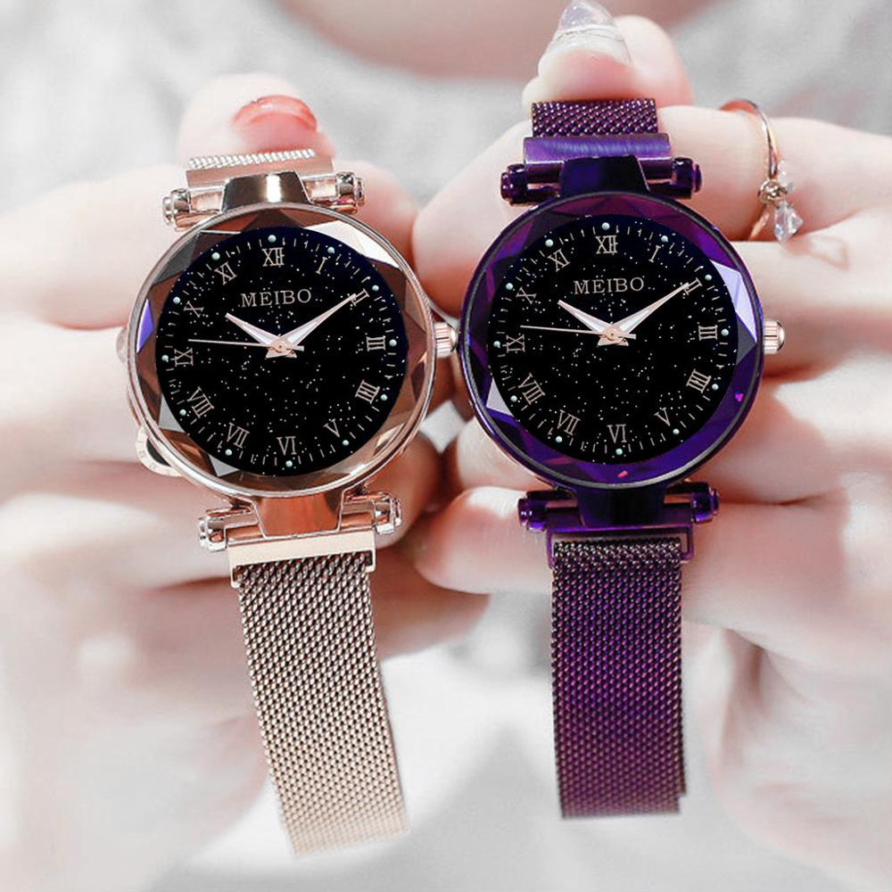 Ladies Watches New Fashion Starry Night Light Casual Quartz Suction Stone Iron Mesh Belt With Creative Arabic Numerals  Relógio