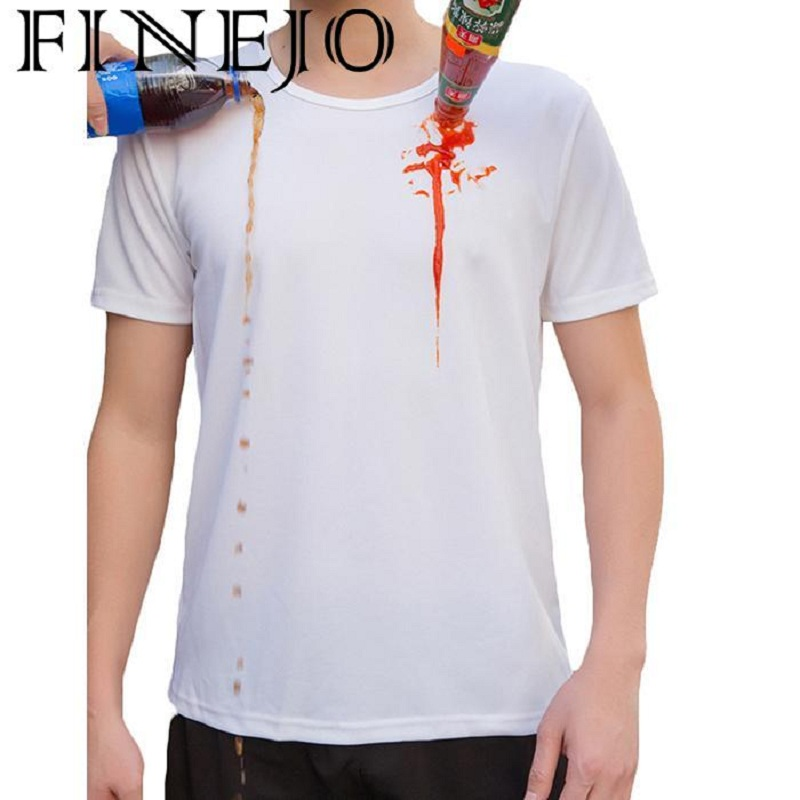 Anti-dirty Men T-shirt Waterproof Hydrophobic Stain Proof Breathable Antifouling Quick Dry T Shirt Short Sleeve Tops Plus Size