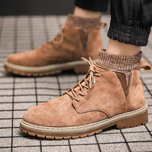 2019 Autumn Winter Fashion Lace-up Men Ankle Boots British Black Brown Khaki Work Boot High Upper Male Botas Size 39 - 44 winter shoes men fashion lace up ankle boots high quality men british boot autumn winter male botas big size 47 0