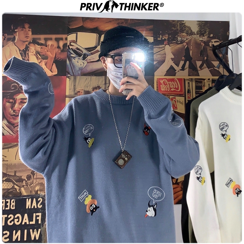 Privathinker Men Woman 2019 Embroidery Autumn Fashion Sweaters Mens Korean Colorful O-Neck Sweater Male Knitted Pullovers Tops