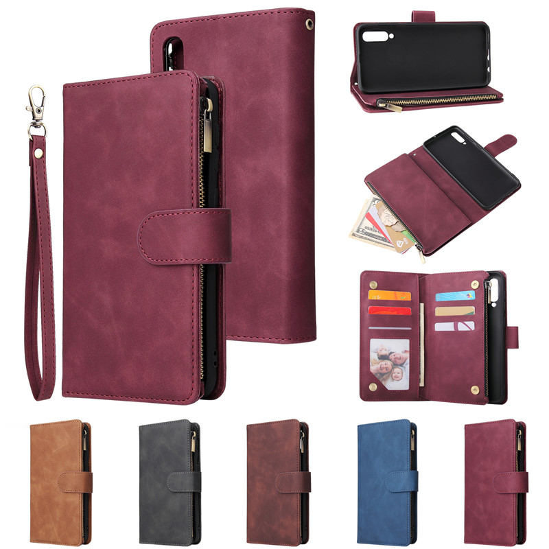 Luxury <font><b>Leather</b></font> Zipper Wallet Flip Phone Bag For Samsung <font><b>Galaxy</b></font> S20 S10 E <font><b>S9</b></font> S8 Plus A70 A50 A40 A30 A20 A10 Note 9 10 <font><b>Case</b></font> Cover image