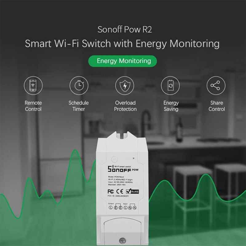 SONOFF POW R2 15A 3500W controlador de interruptor Wifi en tiempo Real Medición del Monitor de consumo de energía para la automatización del hogar inteligente X4YD