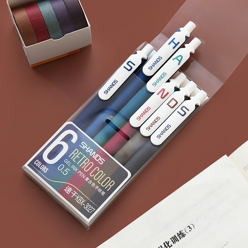 6pcs Retro Color Gel Ink Pen Ballpoint 0.5mm Vintage Liner Pens For Journal Diary Drawing Marker Office Writing School A6111