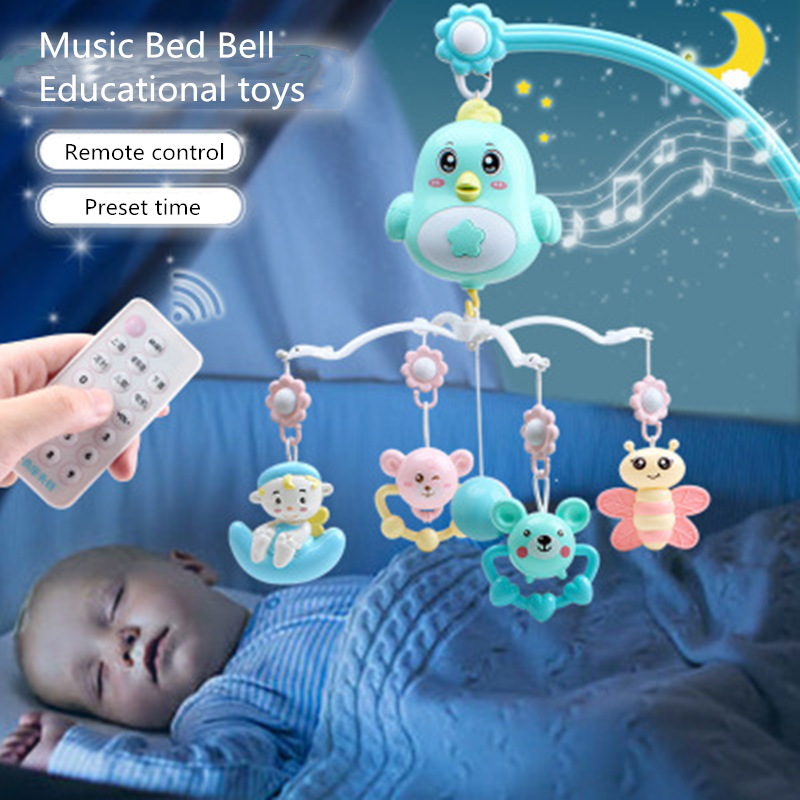 Baby Toys 0-12 Months Rattles Hanging Baby Crib Mobile Bed Bell Musical Kids Toy Holder 360 Degree Rotate Arm Bracket Set