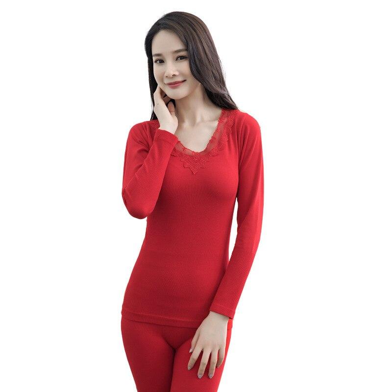 Embroidery Keep Warm UnderwearSet  Slim Women Long Johns Set Seamless Thermal Underwear Set