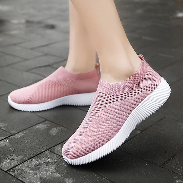 Women Vulcanized Shoes High Quality Women Sneakers Slip On Flats Shoes Women Loafers Plus Size 42 Walking Flat 2