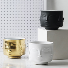 Nordic Wind Creative Ceramic Art Portrait Face Is Like Vase Household With Flowers And Green Plants Placed Basin Sundry Receive