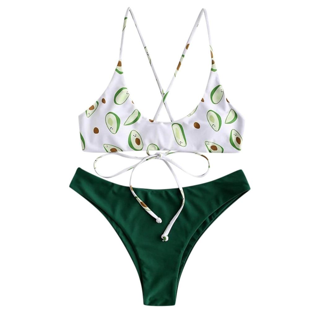 Sexy Swimwear Women Bikini Set Print Padded Swimwear Bathing Swimsuit Beachwear Biquinis Feminino #C8