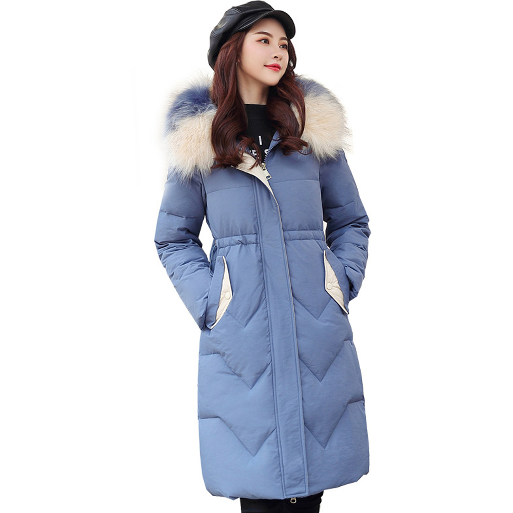 Hot sale Womens   Parkas   Thicken Outerwear slim jackets thick women's large hair collar women's winter style 1972