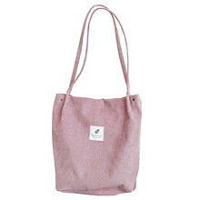 High Capacity Women Corduroy Tote Ladies Casual Shoulder Bag