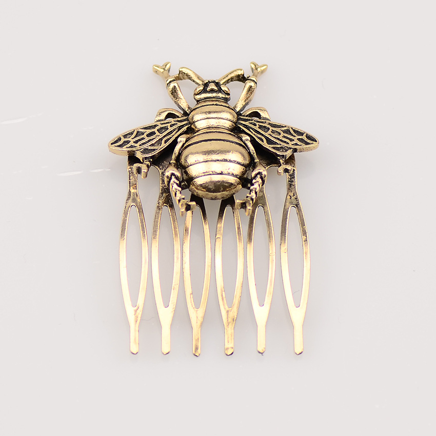 Hot Retro Alloy Comb Bee Hair Comb Ancient Style Hair Clip Hairpin Barrettes Women Hair Accessories Ponytail Holder