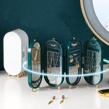 Scatola portaoggetti per gioielli portatile porta orecchini organizzatore di gioielli collana pieghevole appeso espositore a doppia faccia con specchio