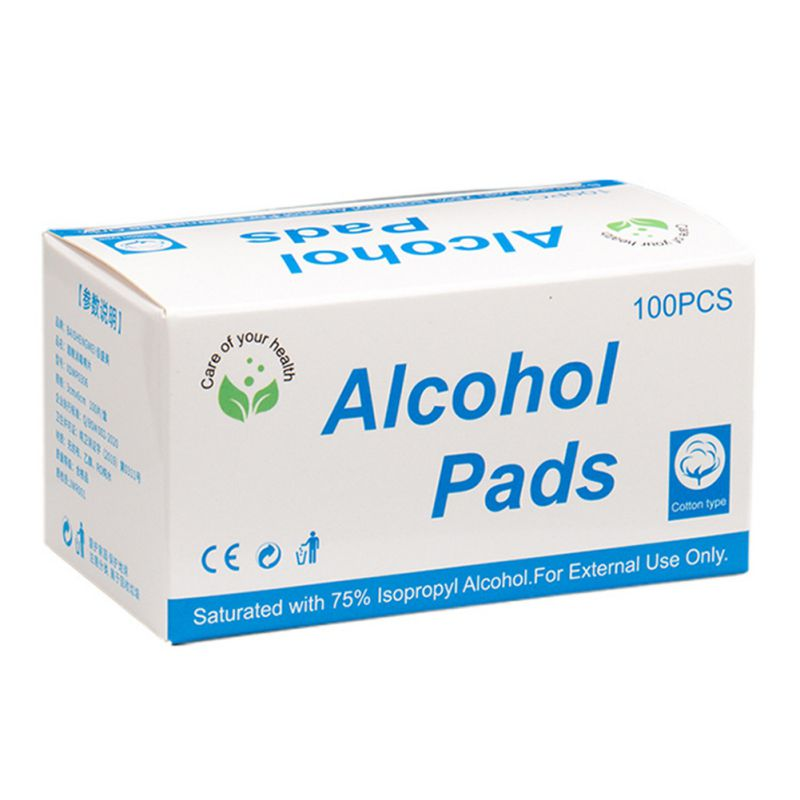 100pcs Alcohol Wipes Disposable Disinfection Preparation Exchange Mat Antiseptic Skin Cleaning Care English Package New New