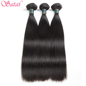 Image 2 - Satai Straight Hair 3 Bundles With Frontal 100% Brazilian Human Hair Bundles With Closure Natural Color Non Remy Hair Extension