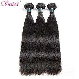 Image 2 - Satai extensão do cabelo em linha reta feixes de cabelo com fechamento 100% não remy feixes de cabelo humano com fecho cabelo peruano pacotes