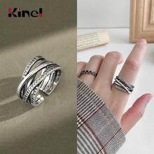 Kinel Vintage Personality Korean 925 Sterling Silver Index Finger Ring Punk Party Fashionable Woman