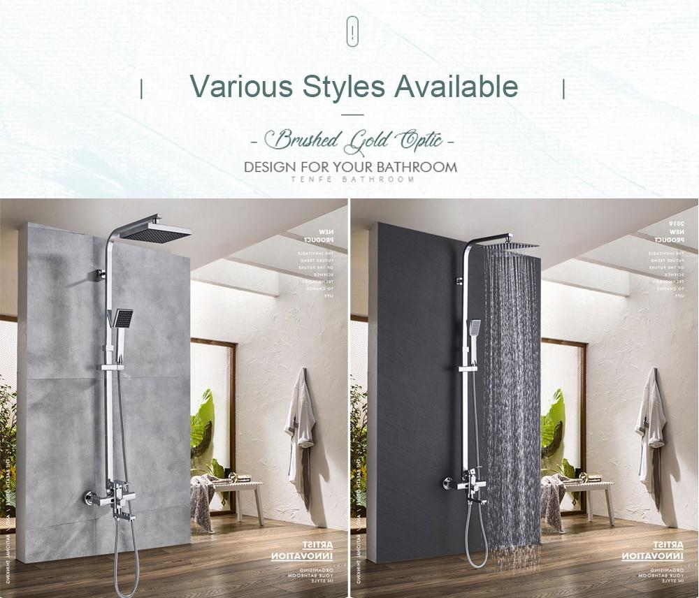 Hd3757d7640c3400593841ef2df7c72e4T POIQIHY Black Bathroom Shower Faucet Set Wall Mount Black 8''Rainfall Shower Head With Handheld Sprayer Bathtub Shower Mixer