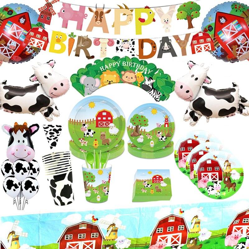Набор одноразовой посуды с животными из фермы и коровы
