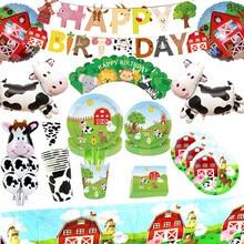 Animais de fazenda vaca tema crianças festas de aniversário decoração balão dos desenhos animados descartáveis utensílios de mesa conjuntos de chá de bebê fontes de festa