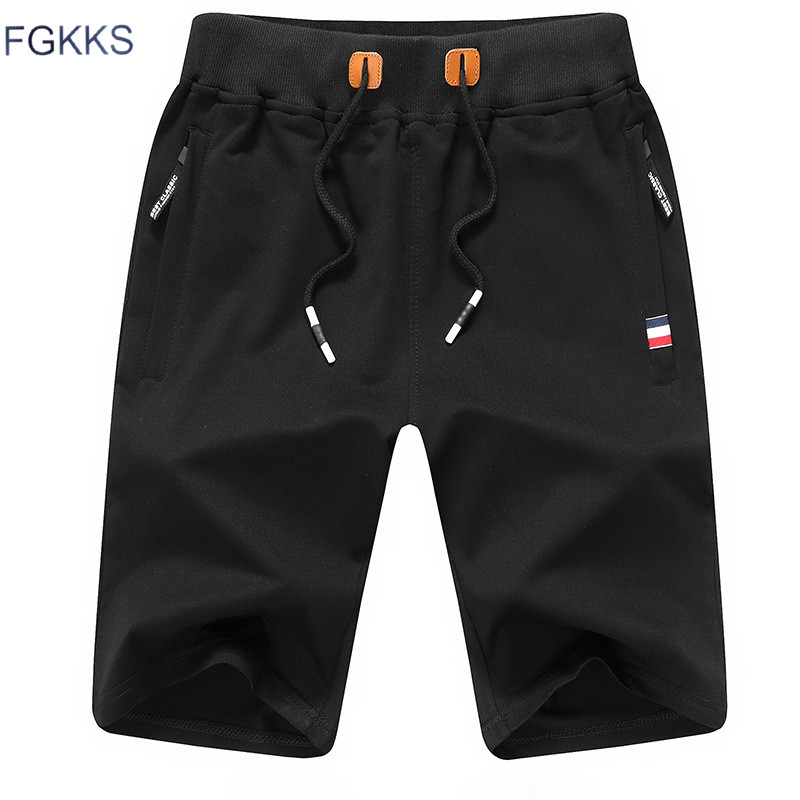 FGKKS Solid Color Men   Shorts   New Summer Fashion Mens Beach   Shorts   Cotton Casual Male   Shorts   Brand Clothing