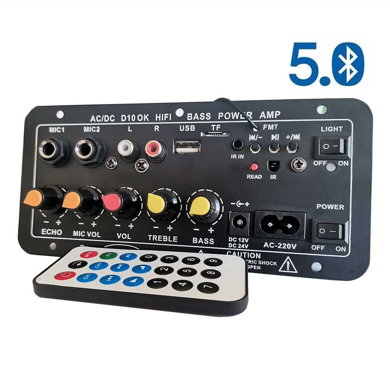 Цифровой Bluetooth стереоусилитель переменного тока 220 В, 12 В, 24 В, плата сабвуфера, двойной микрофон, усилители для караоке для колонок 8-12 дюймов