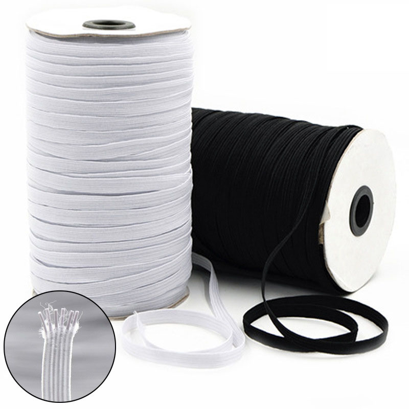 Elastic Band 3mm 6mm Elastic Ribbon Cord For Mask Black White 3-40mm Rubber Band Nylon Webbing Garment Sewing Accessories 5meter(China)