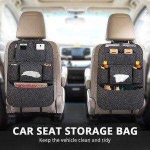 Image 1 - 1pc universel voiture siège arrière sac de rangement organisateur tronc élastique feutre sac de rangement 6 poches organisateur suspendus voiture accessoires