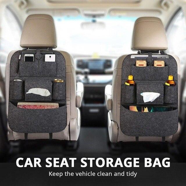 1pc universel voiture siège arrière sac de rangement organisateur tronc élastique feutre sac de rangement 6 poches organisateur suspendus voiture accessoires