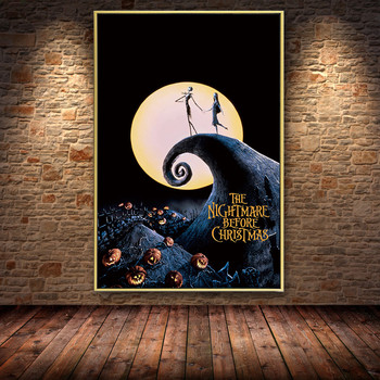 Cartoon Nightmare Before Christmas Anime Jack and Sally Oil Painting Canvas Posters Prints Cuadros Wall Art Pictures Living Room 1