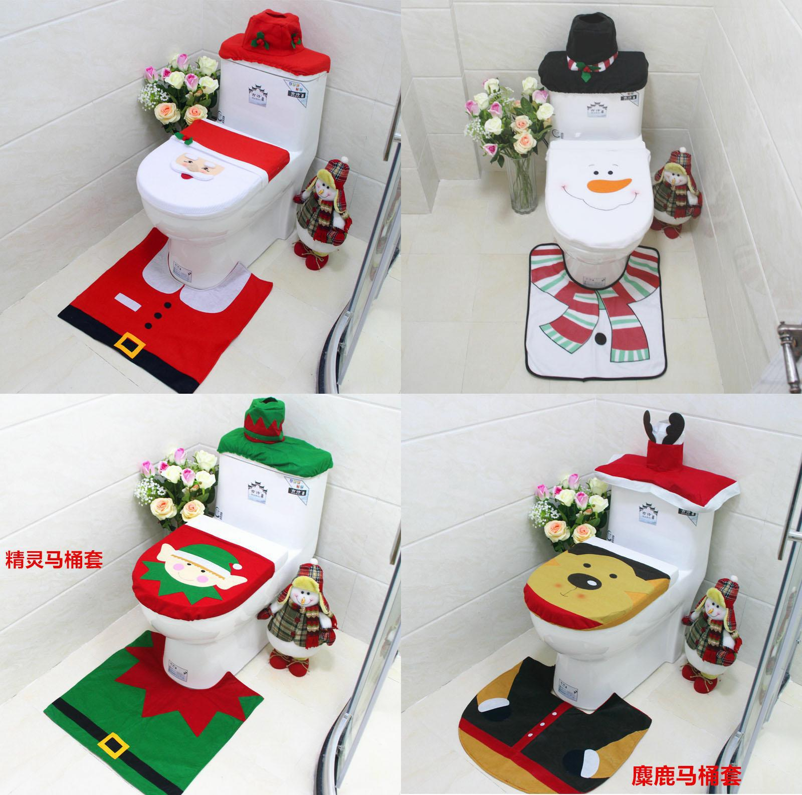 Merry Christmas Toilet Seat /& Cover Santa Claus Bathroom Mat Xmas Home Decor New